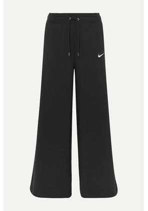 Nike - Cotton-blend Jersey Wide-leg Track Pants - Black