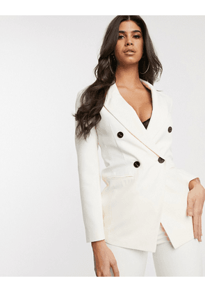 ASOS DESIGN pop double breasted suit blazer in ivory-White