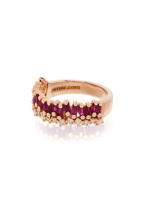 Suzanne Kalan 18kt rose gold ruby and diamond baguette ring