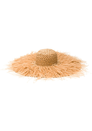Valentino feathered straw hat - Brown