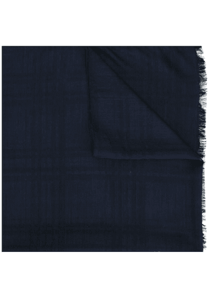 Fashion Clinic Timeless checked frayed edge scarf - Blue