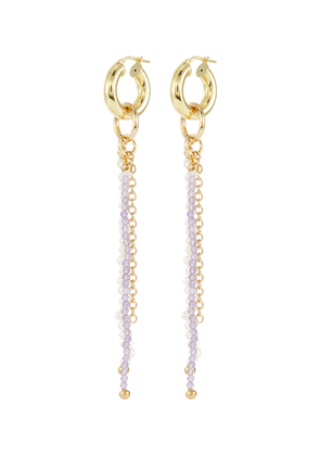 Island Disco agate river pearl 18k gold plated silver drop earrings
