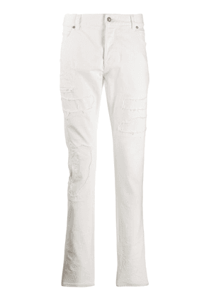 Balmain distressed slim-fit jeans - White