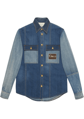Gucci patchwork-effect denim shirt - Blue