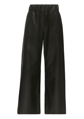 Cropped Leather Blend Wide Leg Pants