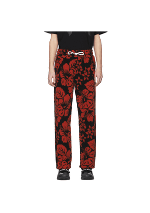 Palm Angels Black and Red Hawaiian Pile Lounge Pants