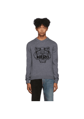 Kenzo Grey Wool Tiger Sweater