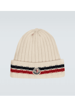 Wool tricot beanie with logo