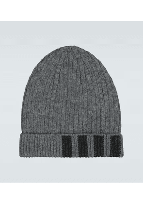 Ribbed striped cashmere hat