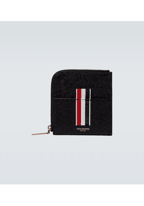Square half-zipped leather wallet