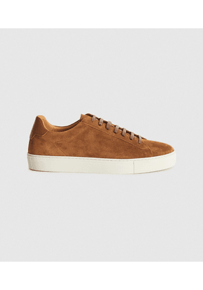 Reiss Finley - Suede Trainers in Toffee, Mens, Size 7