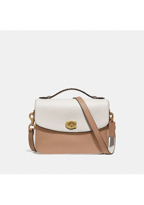 Cassie Crossbody In Colorblock With Snakeskin Detail in Beige/White