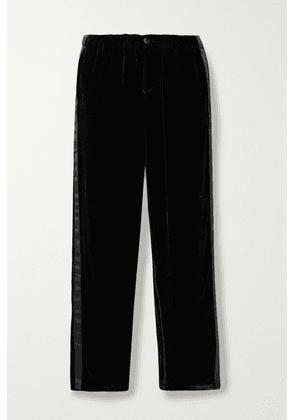 Sleepy Jones - Marina Atleisure Grosgrain-trimmed Velvet Pajama Pants - Black