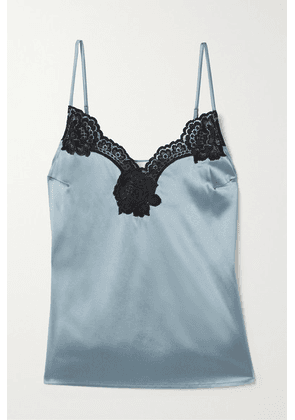 Fleur du Mal - James Lace-trimmed Washed Silk-blend Satin Camisole - Light blue