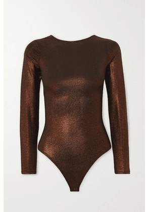 Alix NYC - Hanover Open-back Stretch-lamé Thong Bodysuit - Bronze