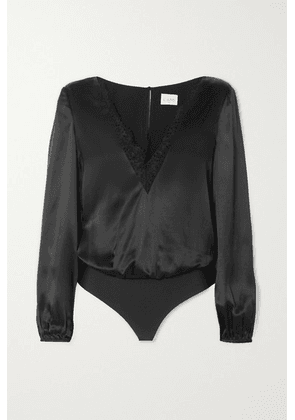 Cami NYC - The Maddox Lace-trimmed Silk-charmeuse And Stretch-jersey Thong Bodysuit - Black