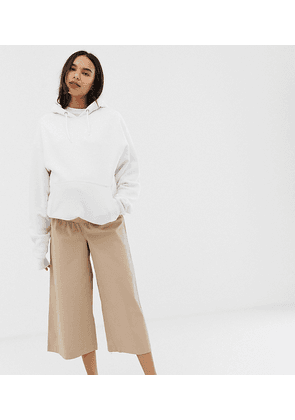ASOS DESIGN Maternity casual culotte trouser in twill with under bump waistband-Beige