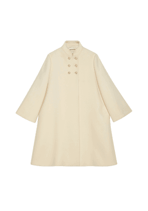Wool coat with logo buttons