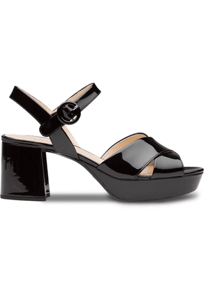 Prada crossover strap sandals - Black