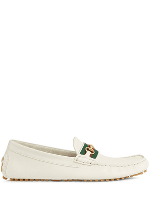Gucci Web strap driving shoes - White