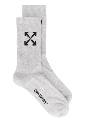 Off-White logo rib-knit socks - Grey