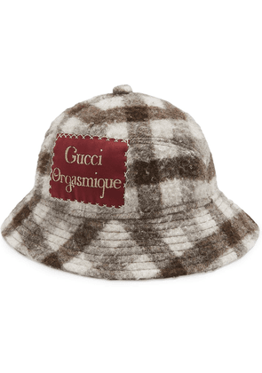 Gucci Gucci Orgasmique checkered hat - White