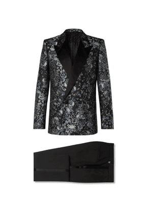 Givenchy - Slim-Fit Satin-Trimmed Floral-Jacquard and Wool-Twill Tuxedo - Men - Black