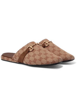 Gucci - Pericle Horsebit Suede-Trimmed Monogrammed Canvas Slippers - Men - Brown