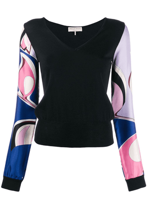 Emilio Pucci contrast printed sleeves top - Black