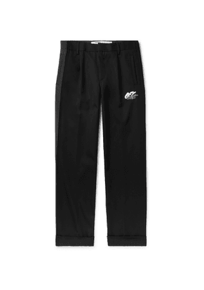 Off-White - Black Logo-Embroidered Wool-Blend Trousers - Men - Gray