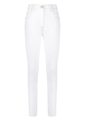 Balmain B embroidered skinny jeans - White