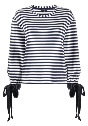 Fay striped-print knot detail top - Blue