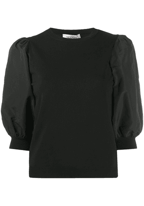 Valentino puff-sleeve knitted top - Black