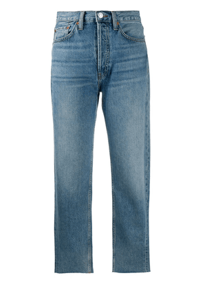 RE/DONE high-rise cropped straight-leg jeans - Blue