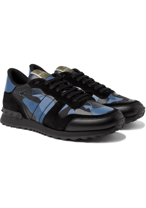VALENTINO - Valentino Garavani Rockrunner Camouflage-Print Canvas, Leather and Suede Sneakers - Men - Blue - 39