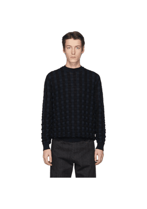 Jil Sander Black and Navy Basket Wool Sweater