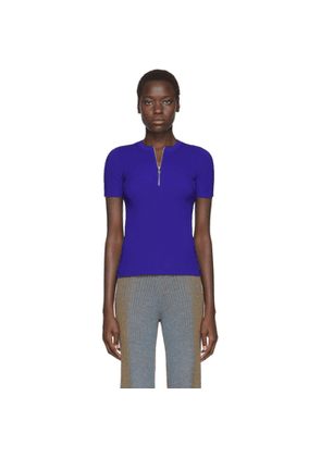 Helmut Lang Blue Essential Zip Sweater