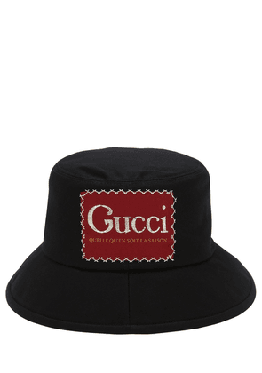 Cotton Bucket Hat W/ Gucci Patch