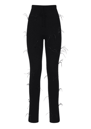 Flared Ribbed Knit Pants W/ Feathers