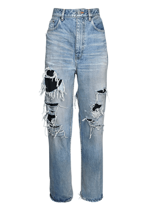 Destroyed Cotton Denim Jeans W/logo