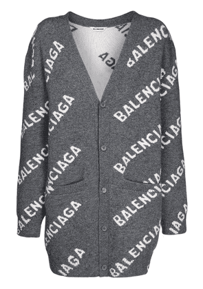 All Over Logo Wool Knit Cardigan