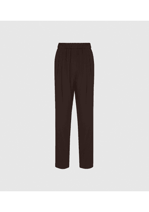Reiss Roxy - Relaxed Fit Tapered Trousers in Mid Brown, Womens, Size 4