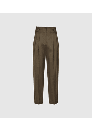 Reiss Stanton - Cropped Tapered Trousers in Khaki, Womens, Size 4
