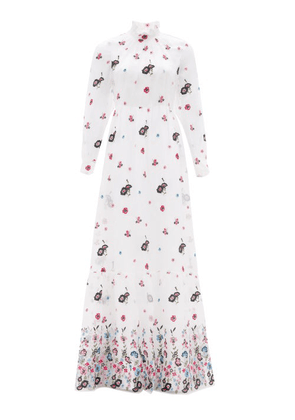 Erdem - Clementine Floral-embroidered Organza Gown - Womens - White Multi