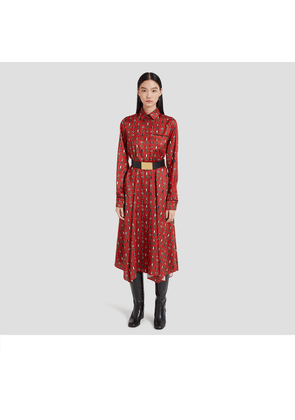 Mulberry Teri Dress in Scarlet Medallion Twill