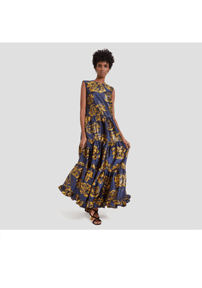 Mulberry Muriel Dress in Bright Navy Floral Jacquard