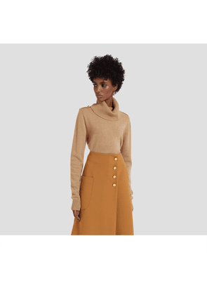 Mulberry Raina Cowl Neck Jumper in Camel Winter Wool