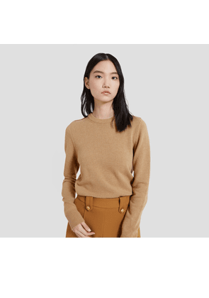 Mulberry Nancie Crew Neck Jumper in Camel Winter Wool
