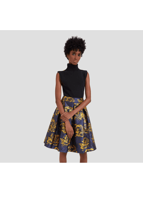 Mulberry Leona Skirt in Bright Navy Floral Jacquard