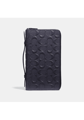 Double Zip Travel Organizer In Signature Leather in Blue